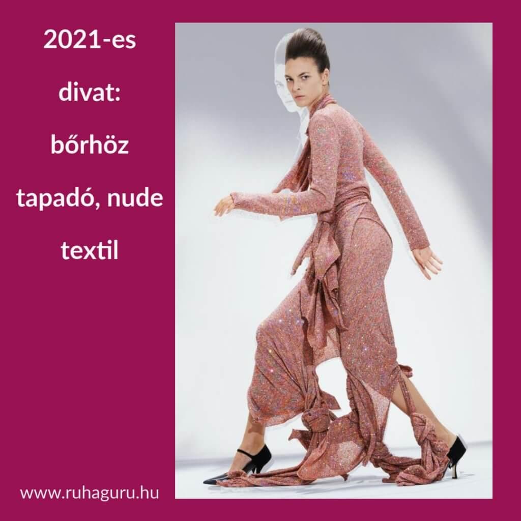 2021-es divat: bőrszínű ruha